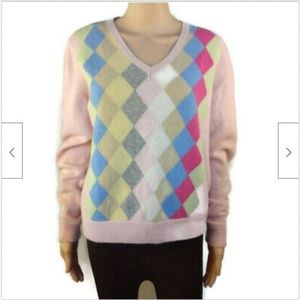 Tommy Hilfiger pink v-neck argyle wool angora